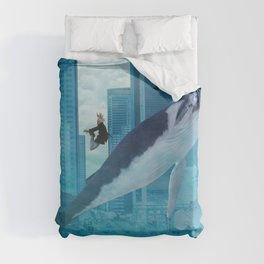 Whales and cities Duvet Cover