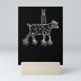 Polygon A Hare On A Buck Who Stands On Birds Mini Art Print