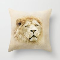 lion Throw Pillows featuring Lion by Peaky40