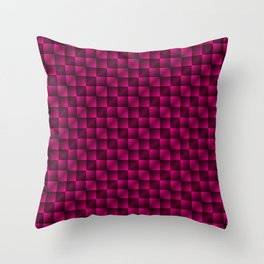 Fashionable large lozenges from small pink intersecting squares in gradient dark cage. Throw Pillow