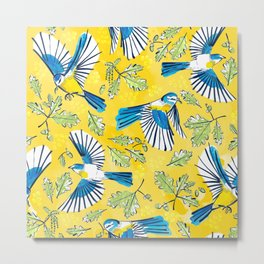 Flying Birds and Oak Leaves on Yellow Metal Print