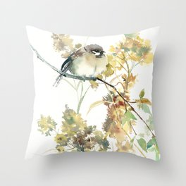 Sparrow and Dry Plants, fall foliage bird art bird design old fashion floral design Throw Pillow