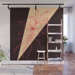 Modern Peach, Coral, and Black Floral Triangles Wall Mural