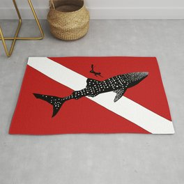 DIVER DOWN - whale shark dive Rug