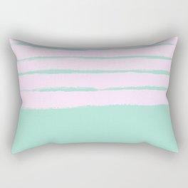 Pastel babyblue rose striped lined pattern Rectangular Pillow