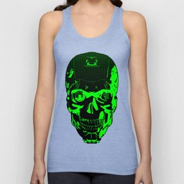 Gamer Skull CARTOON GREEN / 3D render of cyborg head Unisex Tank Top