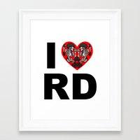 roller derby Framed Art Prints featuring I heart roller derby by Andrew Mark Hunter
