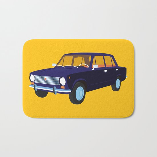 Blue Retro Car Bath Mat