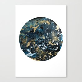 Round Outer Space Planet Earth Canvas Print