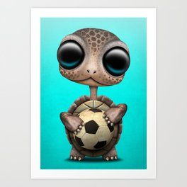 Cute Baby Turtle With Football Soccer Ball Art Print