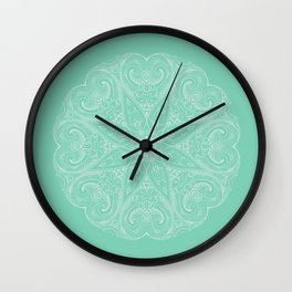 Mandala White and Green Wall Clock