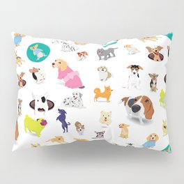 Pattern of dogs, adorable and friendly animal. Pillow Sham