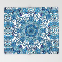 Blue Boho Mandela Pattern Throw Blanket