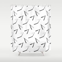 Barbershop pattern with shaving razor Shower Curtain