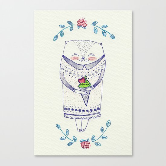 icy cat Canvas Print