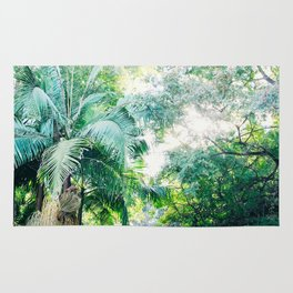 Lost in the jungle bright green tropical palm tree forest photography Rug