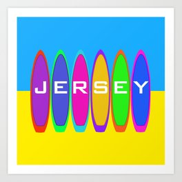 Jersey Text on Surfboards on the Beach Art Print