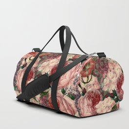 Vintage & Shabby Chic Pink Dark Floral Roses Lilacs Flowers Watercolor Pattern Duffle Bag