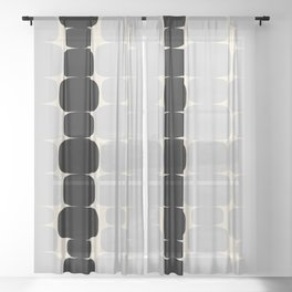 Abstraction_Balance_ROCKS_BLACK_WHITE_Minimalism_001 Sheer Curtain