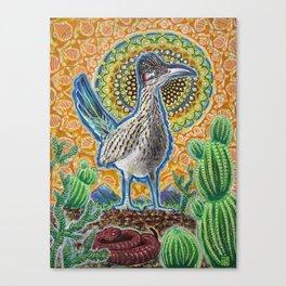 Attention (Roadrunner & Rattlesnake) Canvas Print