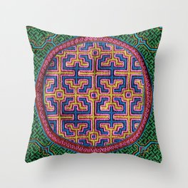 Song for Creativity - Traditional Shipibo Art - Indigenous Ayahuasca Patterns Throw Pillow