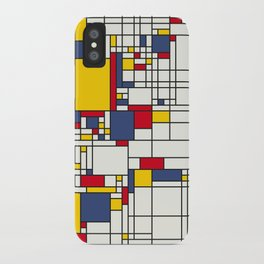 World Map Abstract Mondrian Style iPhone Case