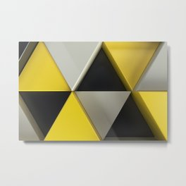 Pattern of black, white and yellow triangle prisms Metal Print