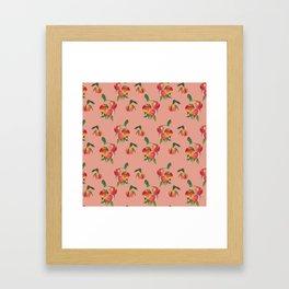 Peaches, Peach Pattern, Peach Illustration Framed Art Print