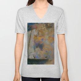 Odilon Redon - Flower Clouds Unisex V-Neck