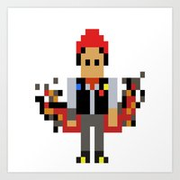 infamous Art Prints featuring Pixel Delsin Rowe (infamous) by 8 BITE