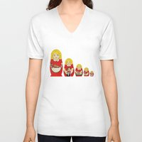 50s V-neck T-shirts featuring 50s Housewife Russian Doll by Yana Elkassova