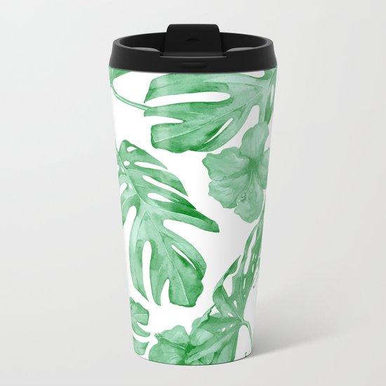 Tropical Island Leaves Green on White Metal Travel Mug