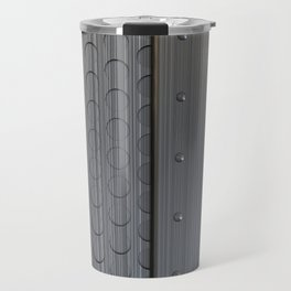 Brushed metal plate with rivets and circular grille Travel Mug