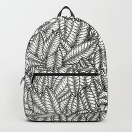 Black and White Botanical Leaf Print with Stick and Poke Style Backpack