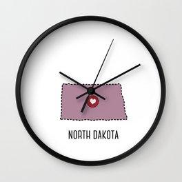 North Dakota State Heart Wall Clock