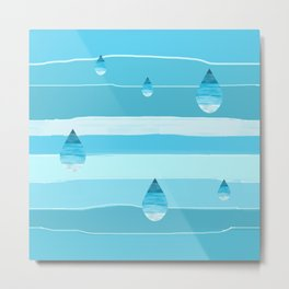 Ombré raindrops on imperfect stripe blues Metal Print