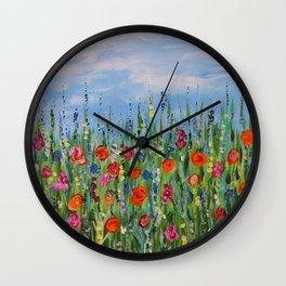 Summer Wildflowers, Landscape Art with Flowers Wall Clock