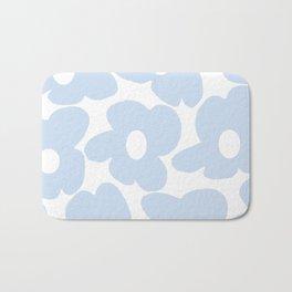 Large Baby Blue Retro Flowers White Background #decor #society6 #buyart Bath Mat