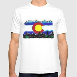 Denver Colorado artistic skyline art T-shirt