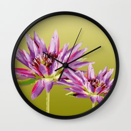 Water Lilies violet green Wall Clock