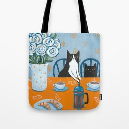 Cats and a French Press Tote Bag