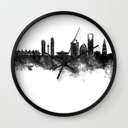 Riyadh skyline in black watercolour  Wall Clock