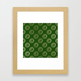 Forest green faux gold abstract geometrical swirls Framed Art Print