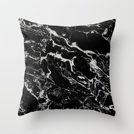 Modern silver black marble pattern Throw Pillow