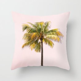 Palm Tree Photography | Pink Sunrise | Summer Vibes | Landscape | Nature | Beach Throw Pillow