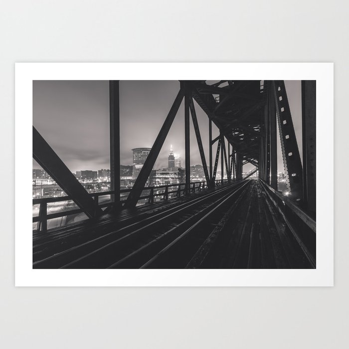 The City Through Steel Beams Art Print