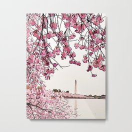 Washington Monument Amid Cherry Blossoms Metal Print
