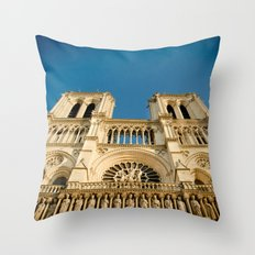 Notre Dame Cathedral on the Seine Facade Throw Pillow