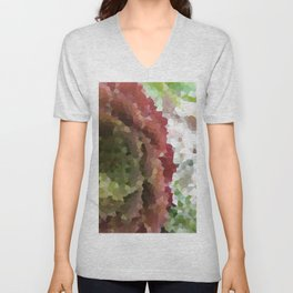 Crystallized Red Succulent Unisex V-Neck