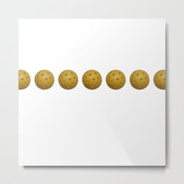Yellow Pickleball Balls In A Row Metal Print